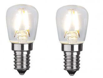 E14 päronlampa LED 1,3W 2-pack