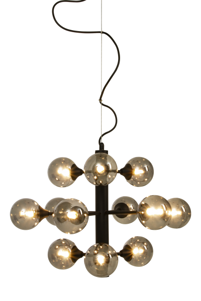 COSMOS ceiling light 12-arm, black / smoke